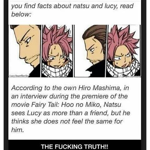 I'VE DONE LOTS OF RESEARCH AND I THINK I CAN CONCLUDE THAT NATSU LOVES LUCY. I MADE UP MY CONCLUSION WHEN I FOUND THESE;