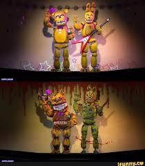 The puppet is a crying kid and golden freddy is fredbear.