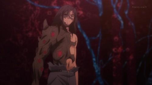 Qualidea Code: Gutoku Asanagi's transformation into a monster that's half-human, half-Unknown.