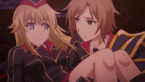Qualidea Code: Canaria Utara being carried like a bride によって Ichiya Suzaku after the staircase she was running down gave out under her feet.
