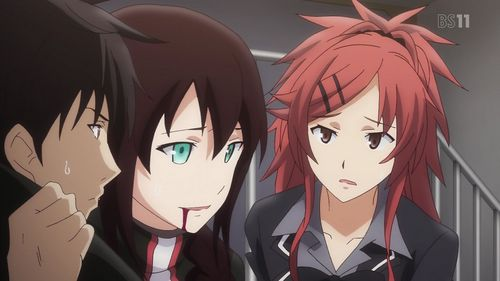 """Qualidea Code, episode 11: Yu """"Johannes"""" Chigusa bled from the mouth after an alien craft fired at the bridge of her ship and injured her."""