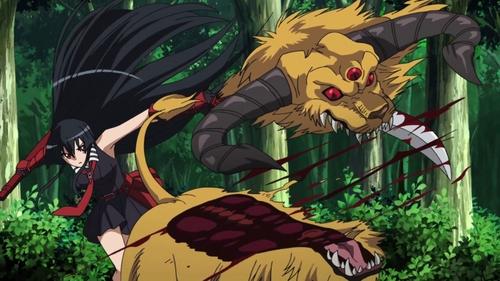 Akame ga Kill! Akame cutting the upper head of a Jackaleo off.