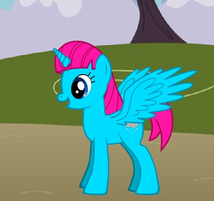 Name: Princess Raincloud What kind of pony? (Alicorn, Earth Pony, Pegasus, Unicorn): Im an Alicorn What would your cutie mark be?: My cutie mark would be a wolke with rain falling down What color would your mane be? Body color: Light Blue Main color: rosa What would Du work at? (Pinkie Pie: Sugarcube corner, Rarity: Carousel Boutique, Applejack: Sweet apfel, apple Acres) I work as a princess. (The pic is of my pony_