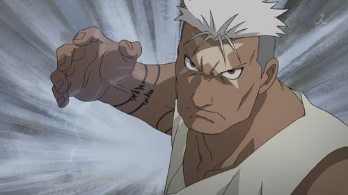Scar from Fullmetal Alchemist(Brotherhood). He happens to be an Ishvalan.