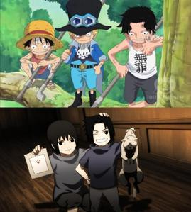 Either Luffy, Sabo and Ace from One piece 或者 Itachi and Sasuke Uchiha from Naruto.