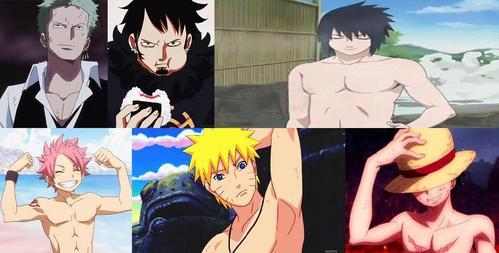 1)Roronoa Zoro-One piece 2)Trafalgar Water D. Law-One piece 3)Sasuke Uchiha-Naruto 4)Natsu Dragneel-Fairy tail 5)Naruto Uzumaki-Naruto 6)Monkey D. Luffy-One piece