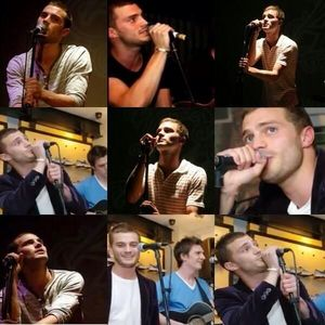 a collage of Jamie singing<3