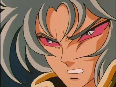 Gemini Saga from Saint Seiya when his evil side takes over.Trust me u wouldn't want to mess with him XD