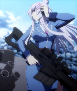 This shot of Frolaytia Capistrano from Heavy Object. She just had shot an enemy commanding officer in the head.