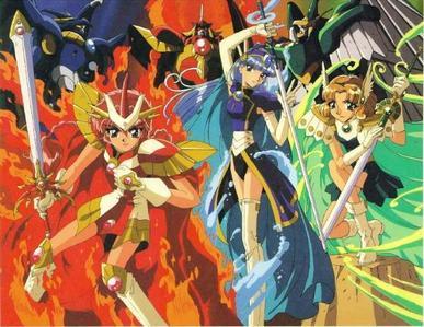 The 3 Legendary Magic Knights from Magic Knight Rayearth: Hikaru(Fire),Umi(Water) and Fuu(Air)