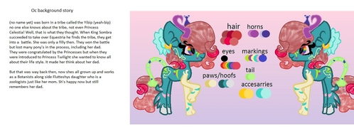 Name: (dont know yet) Type: earth Cutiemark: no cutiemark just markings Mane: (dont knw how to explain) Body: blue kinda Eyes regenbogen Work: botanist Friend: fluttershys daughter Personality/info: (background story below) funny, quirky, insane, and is funky