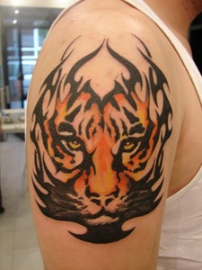 a tribal tiger tattoo