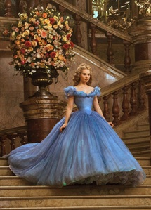 it's a tie between this blue ball ガウン from Disney's Cinderella(2015) and her white wedding dress at the end of the movie