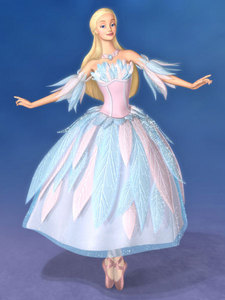 "Odette's dress from""Barbie of 天鹅 Lake""."