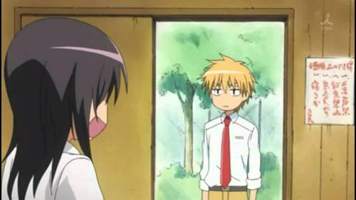 Usui Takumi (Dude with soft spikey blonde hair) Just staring at Misaki (Chick with black hair) Like a hawk.
