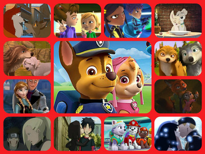 ChasexSkye (PAW Patrol) WilliamxYumi (Code Lyoko) AngelxScamp (Landy and the Tramp 2) EverestxMarshall (PAW Patrol) GarthxLilly (Alpha and Omega) HumphreyxKate (Alpha and Omega) BaltoxJenna (Balto) DannyxCathy (Monster Buster Club) SamxChris (Monster Buster Club) KibaxIno (Naruto) NarutoxHinata (Naruto) HansxAnna (Frozen) JudyxNick (Zootopia)