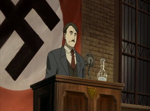 The ending of Fullmetal Alchemist was shoehorned as fuck. Don't get me wrong, it was interesting to combine Germany and a fictional country based on Germany, and having pictures of anime Hitler is funny and all, but it wasn't the conclusion that the series needed, it looked lebih like a plot you'd see in a fanfiction.