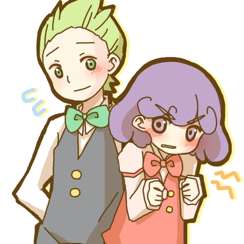 Cilan and Burgundy! Burgundy obviously has a crush on Cilan, but covers it up দ্বারা being a jerk. She blushed in the end of one episode. Normally if I were Cilan, I would slap her in the face and tell her to SHUT UP, but when burgundy yells at him, he উত্তর calmly and gives her tips and pointers to get in a higher class.