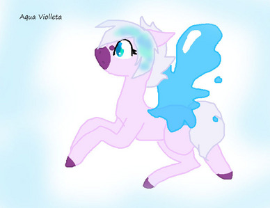 Name Of OC: Aqua Violleta Age: 14 Gender: mare Race: Pegasus can trun into earth টাট্টু Likes: Water, friends, ice cream and sakura বৃক্ষ Dislikes: Friends: Scarlet. Friends: Spike, Luna and Starlight Glimmer Family: Feather (mother, unicorn), Water Blaze ( father,earth pony), Sunny ( Sister, pegasus butterfly), Victoria ( sister, pegasus প্রজাপতি ) Cutiemark: Water whit pearl Backstory/Info: She was born in Canterlot and living in PonyVille. বন্ধু calling Aqua অথবা Violla. Aqua is active, creative and Clumsy. Whit her strange wings she cannot fly very good. Victoria her best sister ever, Aqua and Victoria allaways coming in park to play, watch clouds and read over sakura tree. She dosen't have crush on somebudy, she likes live whitout প্রণয় problems.