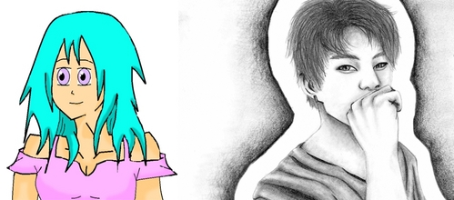 Don't give up. I'll show 당신 a drawing I did at 14 compared to a drawing I did at 21, left and right. I thought I should have given up at 14 but I'm glad I kept drawing. Don't give up! Something to help 당신 develop your skill is surround yourself with people 또는 artists online who are very good. Competition kickstarts improvement. (plus, your drawing is actually good)