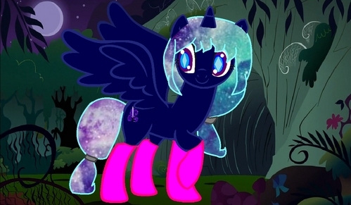 "Name: Nightmare Scare Gender: Female Cutie Mark: A Magical Sword Hobbies: Learning Spells and Plays Sword Tricks Personality: Brave, Loyal, Cool, Smart, Evil When Her Curse Come back, and Little Bit Anger When She Frustrated Special fact: Once in 7 years and every full moon, her curse from her demon ancestors come back and turn her into a full-demon alicorn that can only stop with a white loop spell that she kept in her ""Demon Craft"" spells book. (The curse will showed when the white holes in her eyes gone, and when the holes is back means her curse is gone)."