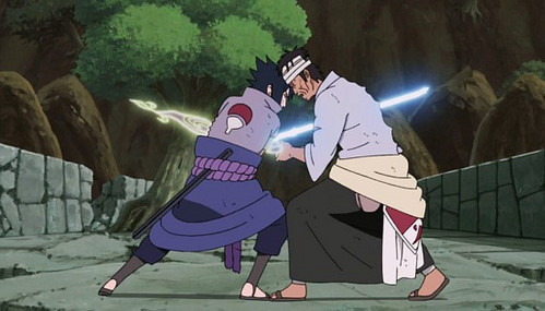 My favorito! is Sasuke and my least favorito! is Danzo, both from Naruto. They've actually fought in canon and Sasuke killed Danzo. Sasuke wins.