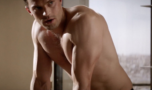 sexy Jamie without a shati in a scene from Fifty Shades Darker<3