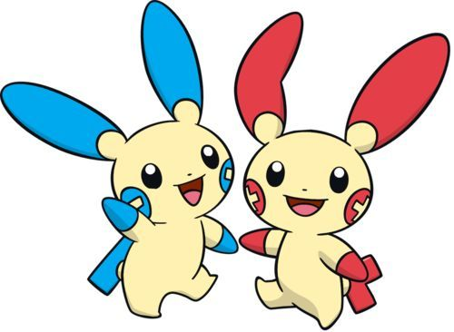 I have no clue if either of them are biologically related, but I believe they are. I'll go with plusle and minun. Please tell me if they aren't related.