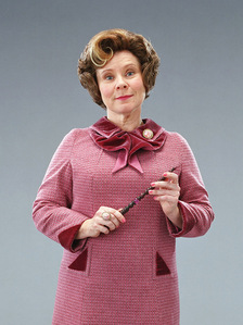 Dolores Umbridge. I absolutely hate this character with a passion, but I will say that she is a great villain and a fantastic example of a malevolent bigot who uses deception and oppression to get to the top. And Imelda Staunton does an amazing job at playing Umbridge, I don't think any other actress could've made her as fun to hate as she does, especially because Umbridge is a character the reader is supposed to hate.