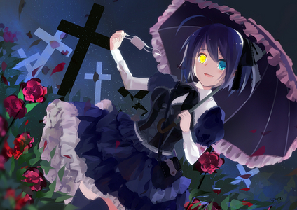 rikka takanashi from love, chuunibyou and other delusions.. the way she dresses is gothic.... but actually shez cute.. well this doesnt entirely answer the pertanyaan but just wanted to add her!