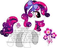 Name: Glitter best Hair colour: pink, purple, Dark blue with a littlie shine. and a bow on oben, nach oben skin colour: white