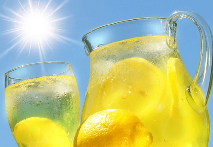 No, we just sell lemonade, but it's cold and it's fresh and it's all home-made. Can I get Du a glass?
