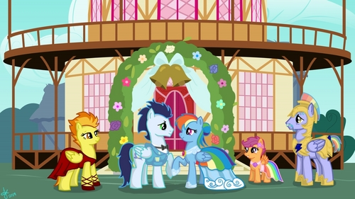 I can कन्फर्म with 100% certainty that इंद्रधनुष Dash and Soarin' are engaged. I mean check out this leaked season 8 screenshot.