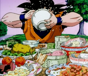 Goku from Dragon Ball Z (his stomach is like a bottomless pit)