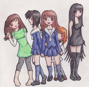 Fruits Basket doesn't have many female characters but they're all so well developed and memorable (Couldn't find an official picture of them all together so had to go with fanart)