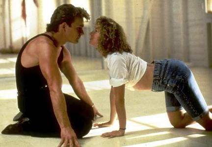 "1) Patrick Swayze and Jennifer Grey 2) The dancing 3) ""The Time of My Life"""