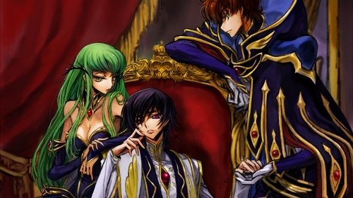 code geass its about a war that starts in Japan and many years later the Japanese start a rebellion against the Britannians (who started the war) this story's about 2 Friends who end up fighting in this war in order to bring it two an end