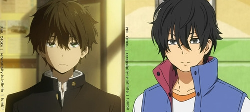 oreki from hyouka and haru from my little monster!