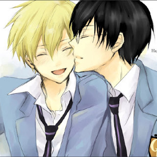Tamaki x Kyoya Gotta keep mommy and daddy together after all. :P There is Hikaru and Kaoru of course, but I think they'd be best with a Haruhi to look after both of them. Hence me picking Tamaki x Kyoya for my number 1 spot. Because they complete each other. :)