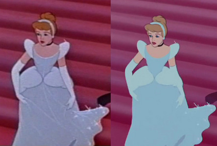 I believe the dress was only white in that scene, and was a light blue-ish silver for the rest of its screentime. However, I think when the movie was remastered, its color eventually changed from a silvery-white to a more distinct blue.