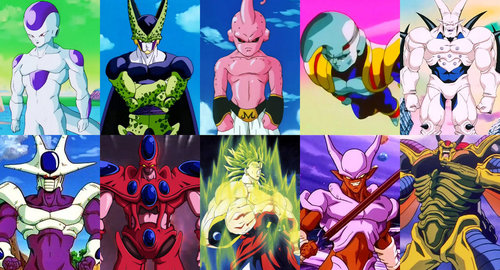 Frieza, Cell, Majin Buu (before he absorbed the Kais), Cooler, Broly, Janemba, Hirrudegarn, Hatchiyack, Baby, and Omega Shenron from DBZ and GT.