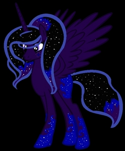My name would be Nyxerelle star, sterne (nickname: Nyx/Nyxie) I would first be a Pegasus then an Alicorn.. My cutie mark would be a blue galaxy. My mane would be indigo with some stars. I would be Princess Luna's cousin. When she is corrupt her name is Galaxy Shadow. She gets corrupt when other ponies don't think she is important enough and when her cousin Princess Luna overshadowed her.