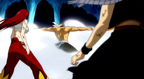"""do wewe remember? erza always tells that living proves that your strong.... but during that episode where simonn was killed, erza stood in front of natsu to protect him from jellal's attack, so she was ready to sacrifice her life ...... according to her not trying the best to live but ready to die is a sign of weakness... so when jellal attacked, simon came in front of her and died to protect her.... if she hadnt stood still but fought jellal,simon wouldnt have died.... so she states that because of her """"weakness"""" simon died..... hope wewe understood :) and as for episode 154 , it did prove to each other that they liked eachother, but they werent really ready to have a relationship at that point of time... though they didnt convey it through words, they conveyed it through their action"""