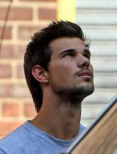 Taylor Lautner with dark hair