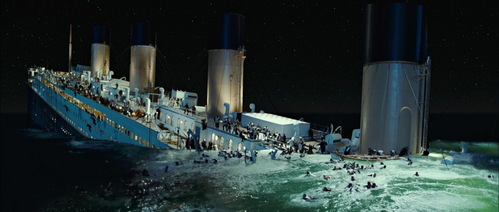 The sinking. Even if new details give more information on how the ship sinks, James Cameron still does an amazing job creating one of the most accurate recreations of the final moments of the sinking! Yes I know the break-up should be in the front of the third funnel and the sterns angle is a little too high, but It's still well done!  Image is from the Blu-ray.