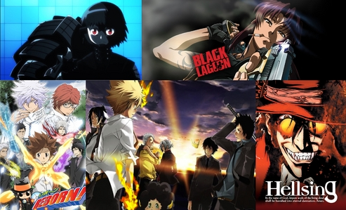 """Nobunagun"" is SUPER COOL and ""Black Lagoon"" too. ""Katekyo hitman Reborn"" is really interesting; even though tu have to endure the first 6 chapters it is worth it!!!! (2photos) and ""HELLSING ULTIMATE"" too (this last one is a little gore (a lot)) fotos IN ORDER"