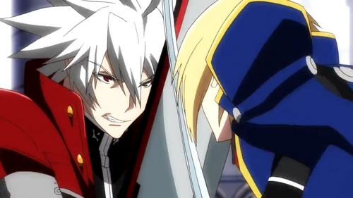 Ragna and Jin from the anime adaption of BlazBlue (They don't get along very well.)