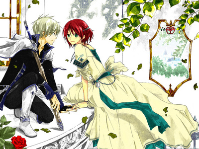 Akagami no Shirayukihime, aka. Snow White with the Red Hair. The girl with the red hair and the guy with the white hair are the main characters, and I can assure you, Shirayuki has a very strong will and Zen is definitely good-looking!