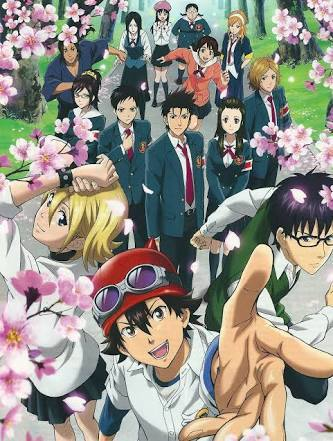 Sket dance.... bossun always wears goggles..... It's really a very funny series which is in my too 5 favorito! anime list.... the first 2 to 3 episodes seems to be pretty lame but it really is a super funny series also with very sad episodes in it about the main characters :) I really really loved it that I also read the manga and finished it😀😁 And yeah even in attack on titan hanji zoe wears goggles..... attack on titan is an incredible and super famous series!!!! tu should really check it out..... nearly all the anime fans have watched it.....season 3 is gonna come out soon!😄