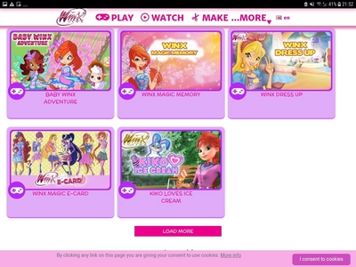 Dress up ones and theres a beleivix fight game in winx website which i like and also magic match